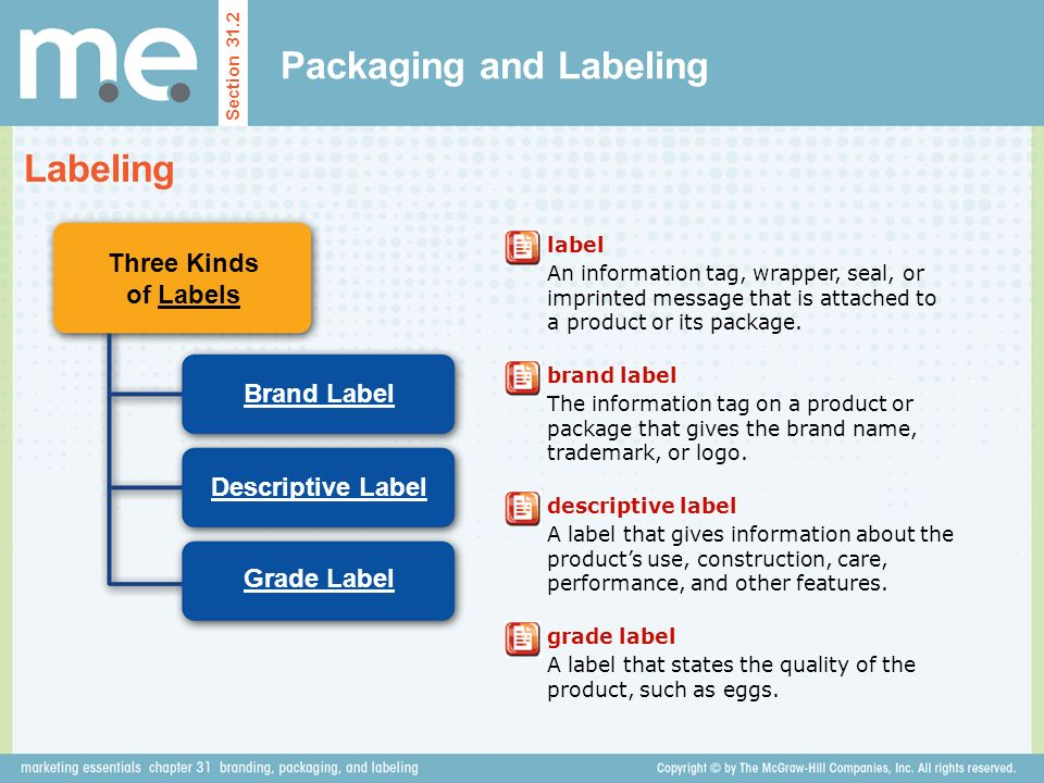 Packaging and Labeling Section 31.2 Labeling Three Kinds of Labels Brand Label Descriptive Label Grade Label label An information tag, wrapper, seal, or imprinted message that is attached to a product or its package.