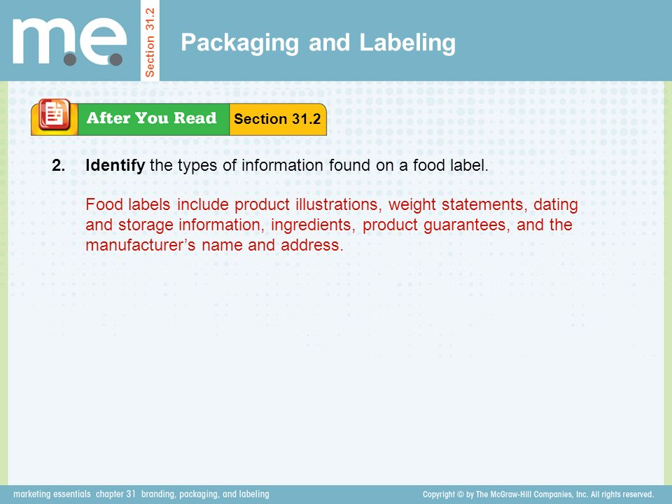 Packaging and Labeling Identify the types of information found on a food label.