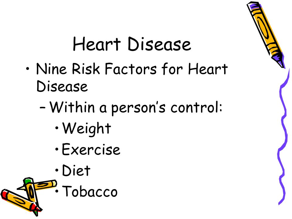 Heart Disease Preventing Heart Disease Nine Risk Factors for Heart Disease –Not within a person's control: Age Gender Race Family history