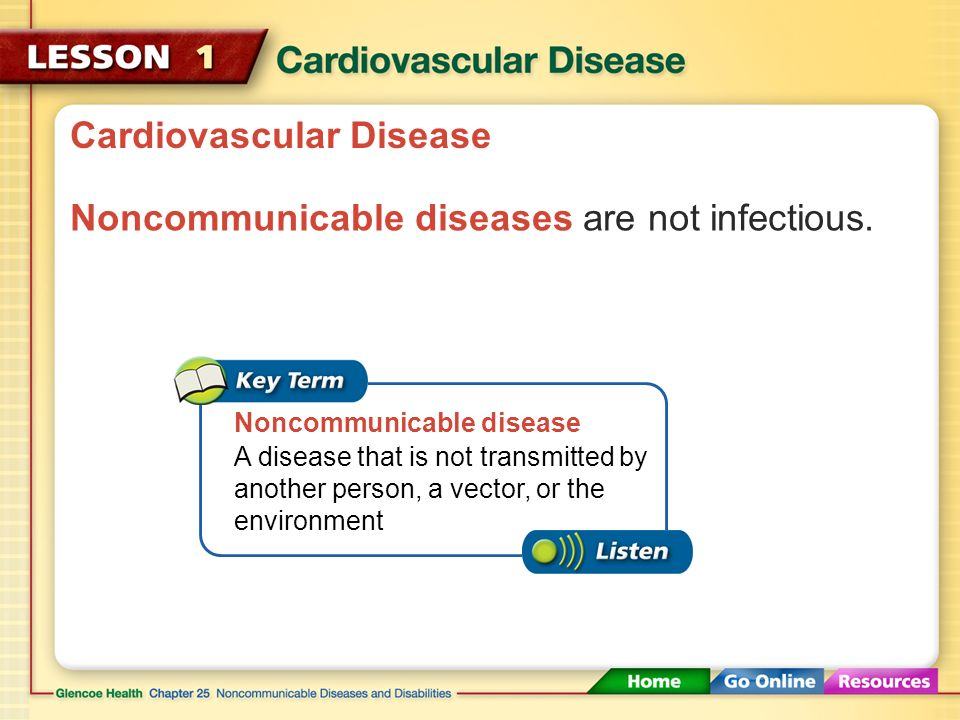Cardiovascular Disease The heart, blood, and blood vessels are at risk for a number of potentially serious diseases.