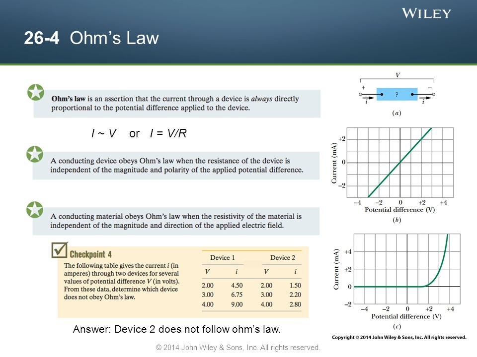 26-4 Ohm's Law Answer: Device 2 does not follow ohm's law.