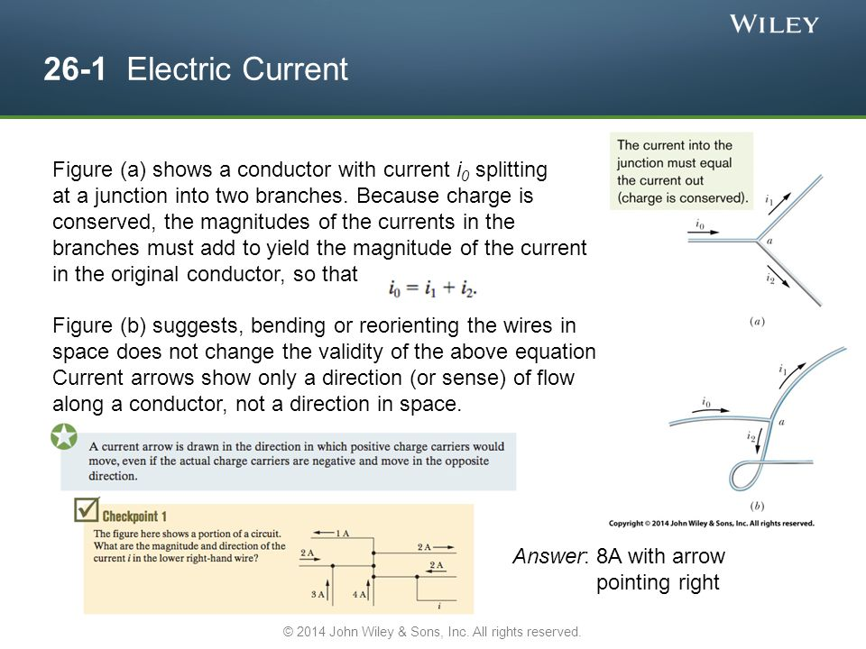 26-1 Electric Current Figure (a) shows a conductor with current i 0 splitting at a junction into two branches.