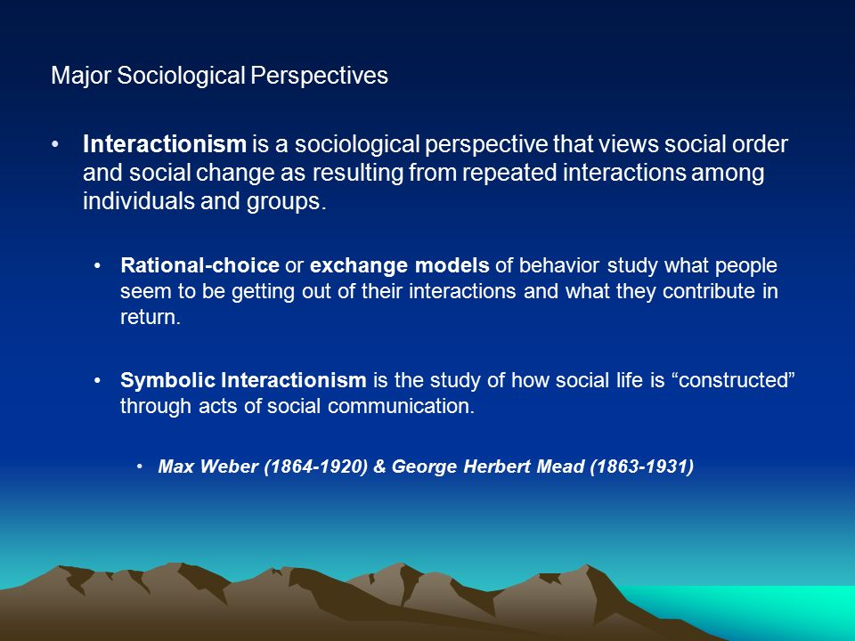 Major Sociological Perspectives Interactionism is a sociological perspective that views social order and social change as resulting from repeated interactions among individuals and groups.