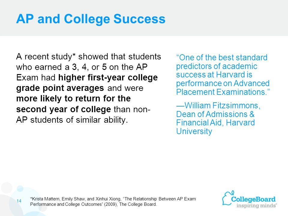 AP and College Success A recent study* showed that students who earned a 3, 4, or 5 on the AP Exam had higher first-year college grade point averages and were more likely to return for the second year of college than non- AP students of similar ability.