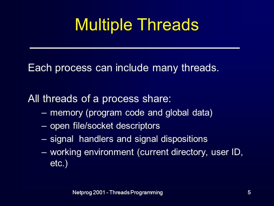 Netprog Threads Programming5 Multiple Threads Each process can include many threads.