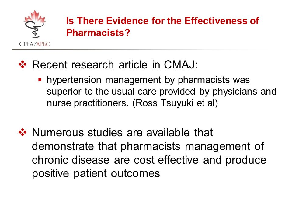 Is There Evidence for the Effectiveness of Pharmacists.