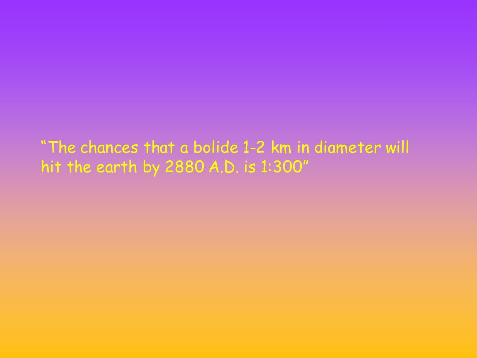 The chances that a bolide 1-2 km in diameter will hit the earth by 2880 A.D. is 1:300