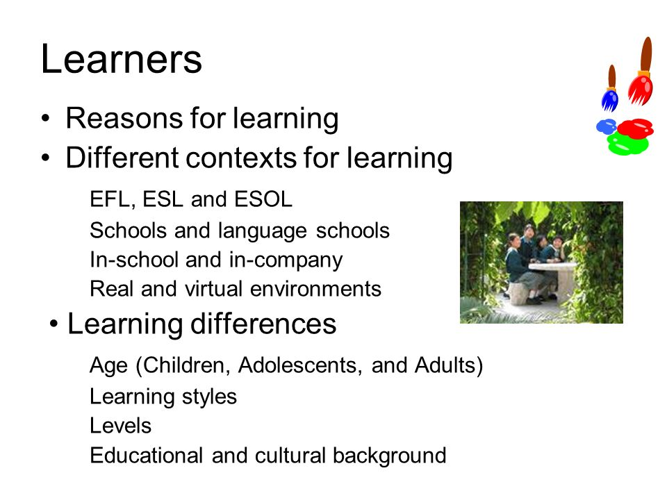 Learners Reasons for learning Different contexts for learning EFL, ESL and ESOL Schools and language schools In-school and in-company Real and virtual environments Learning differences Age (Children, Adolescents, and Adults) Learning styles Levels Educational and cultural background