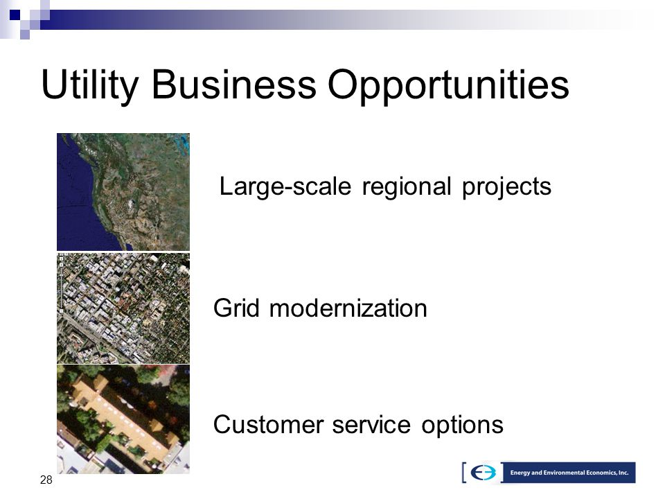 28 Utility Business Opportunities Customer service options Grid modernization Large-scale regional projects