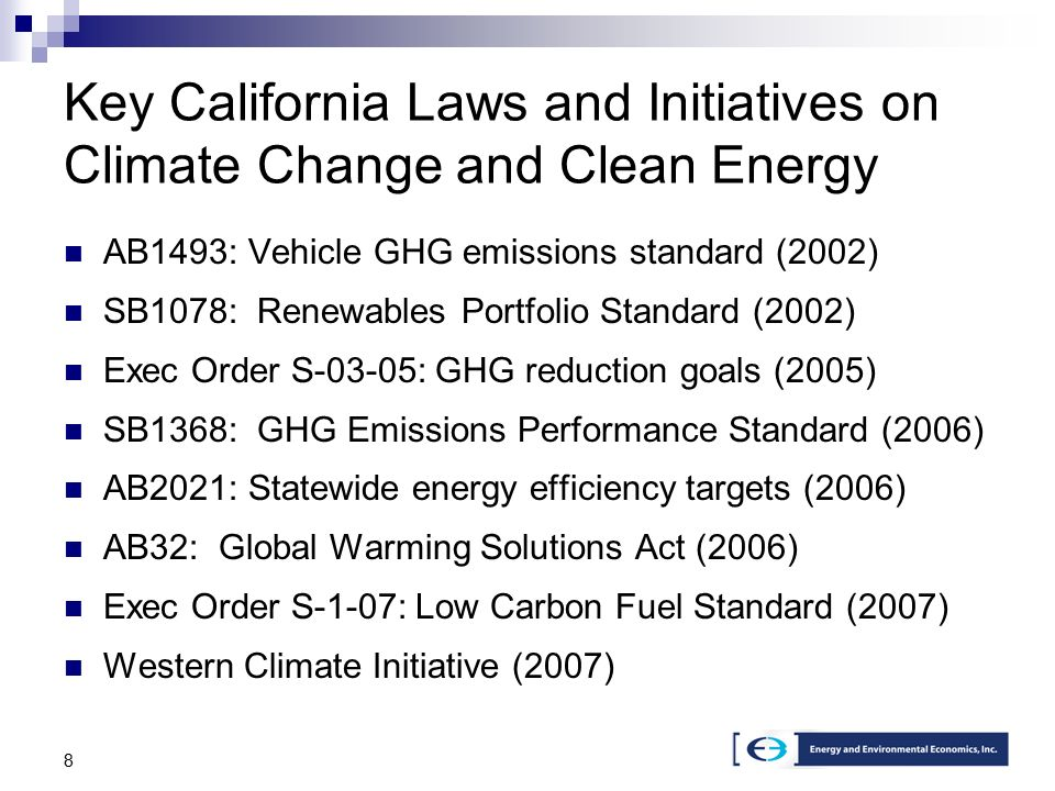 8 Key California Laws and Initiatives on Climate Change and Clean Energy AB1493: Vehicle GHG emissions standard (2002) SB1078: Renewables Portfolio Standard (2002) Exec Order S-03-05: GHG reduction goals (2005) SB1368: GHG Emissions Performance Standard (2006) AB2021: Statewide energy efficiency targets (2006) AB32: Global Warming Solutions Act (2006) Exec Order S-1-07: Low Carbon Fuel Standard (2007) Western Climate Initiative (2007)