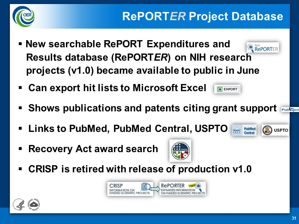 1 Enhancing Public Access and Transparency on NIH Research