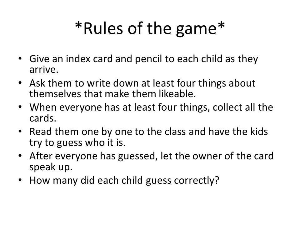 Angels Game Time Rules Of The Game Give An Index Card And Pencil
