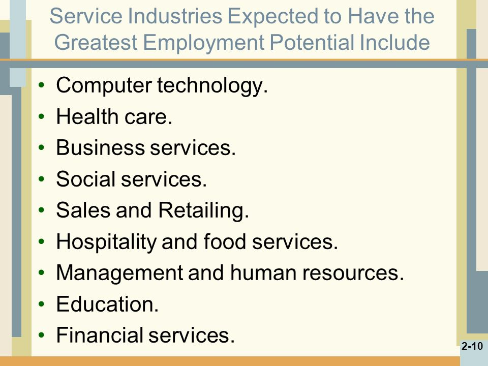 Service Industries Expected to Have the Greatest Employment Potential Include Computer technology.