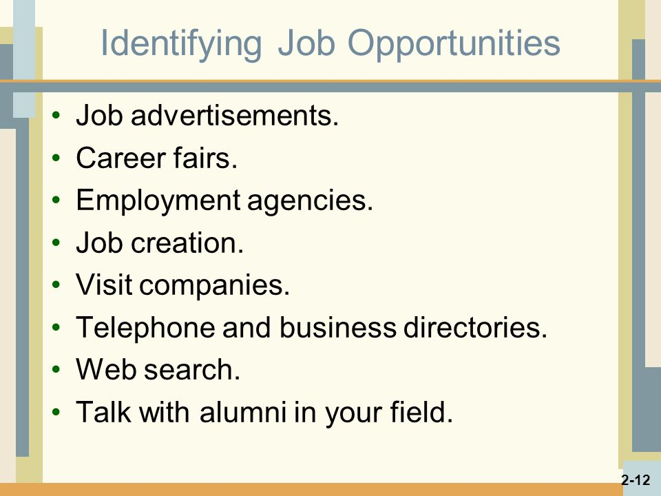 Identifying Job Opportunities Job advertisements. Career fairs.