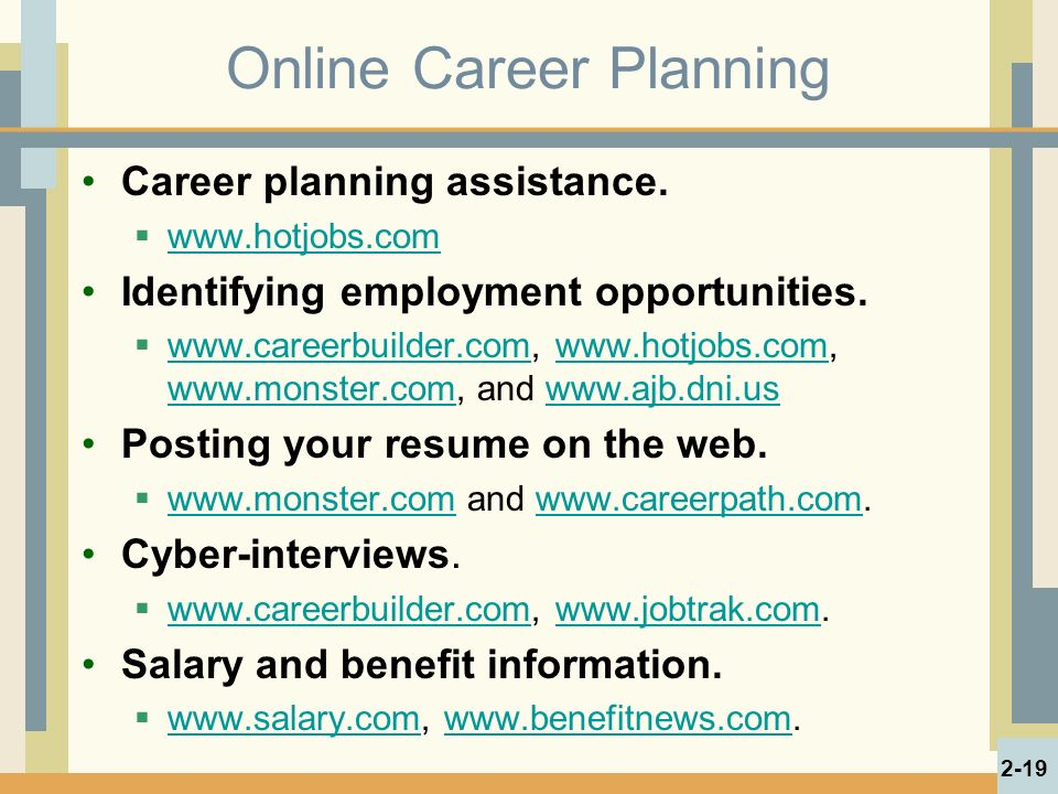 Online Career Planning Career planning assistance.
