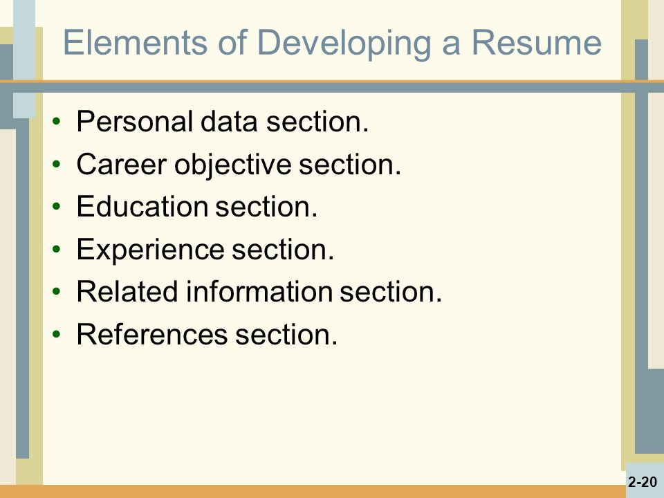 Elements of Developing a Resume Personal data section.