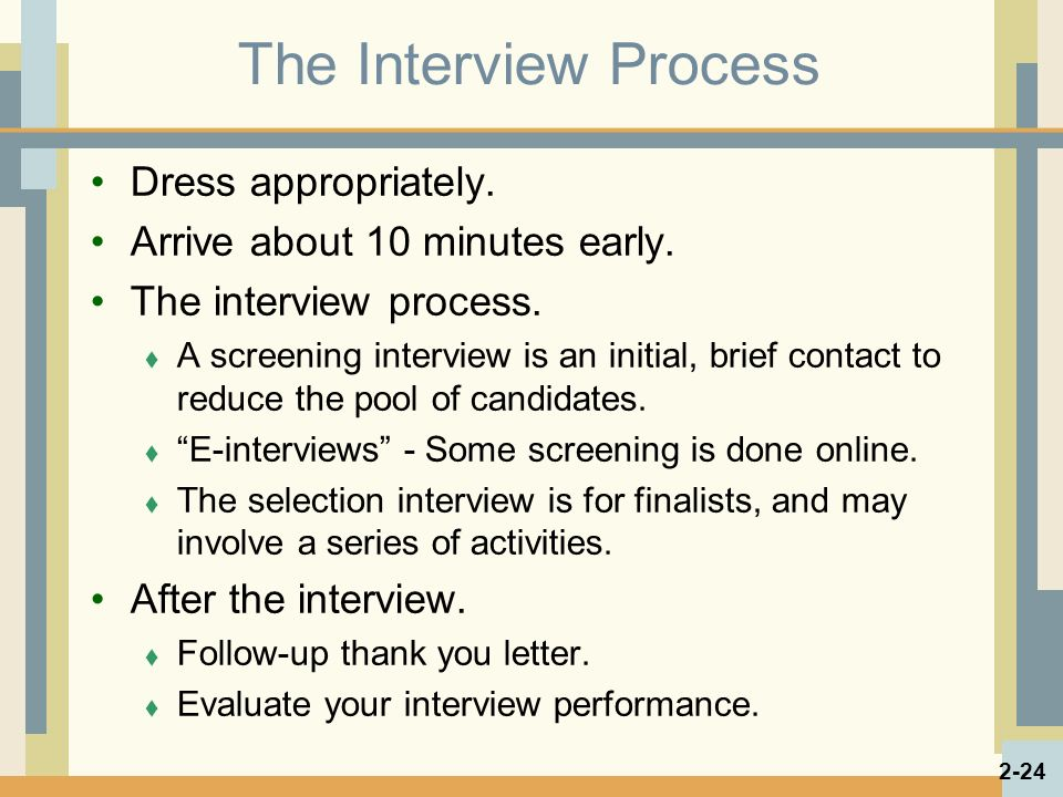 The Interview Process Dress appropriately. Arrive about 10 minutes early.