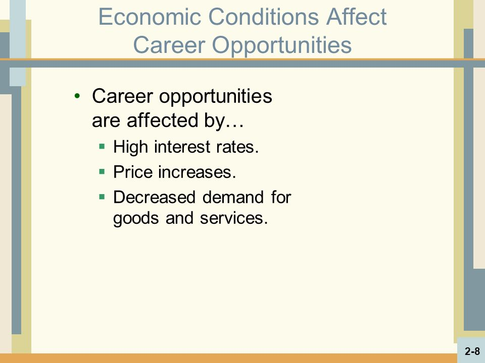 Economic Conditions Affect Career Opportunities Career opportunities are affected by…  High interest rates.
