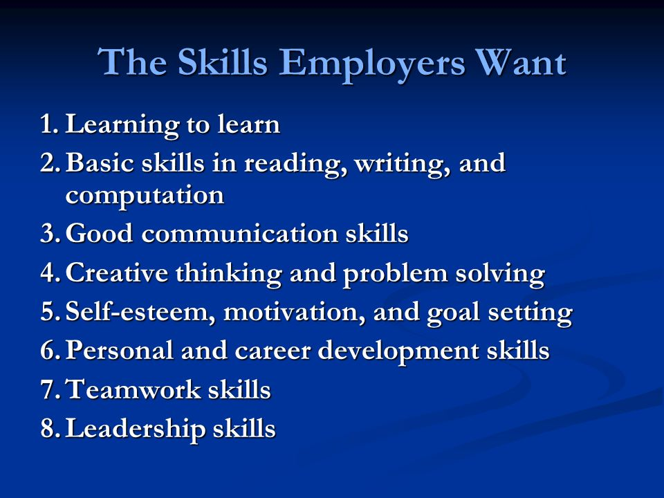 The Skills Employers Want 1.Learning to learn 2.Basic skills in reading, writing, and computation 3.Good communication skills 4.Creative thinking and problem solving 5.Self-esteem, motivation, and goal setting 6.Personal and career development skills 7.Teamwork skills 8.Leadership skills