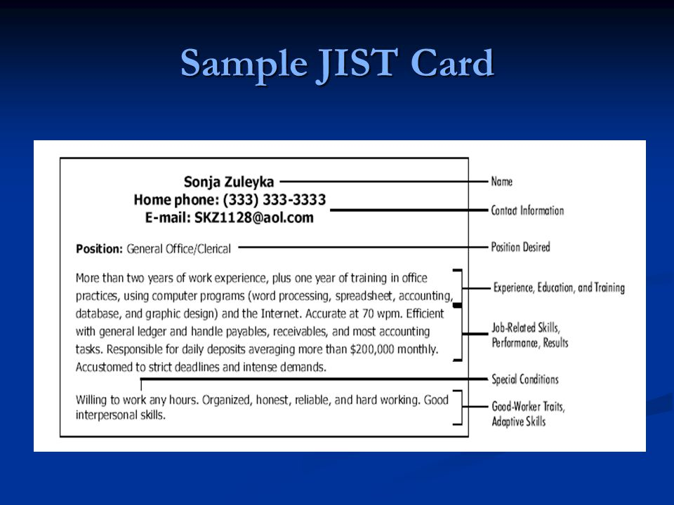 Sample JIST Card
