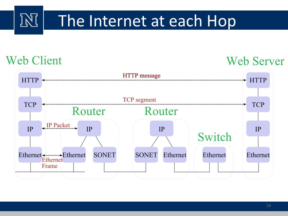 The Internet at each Hop 16