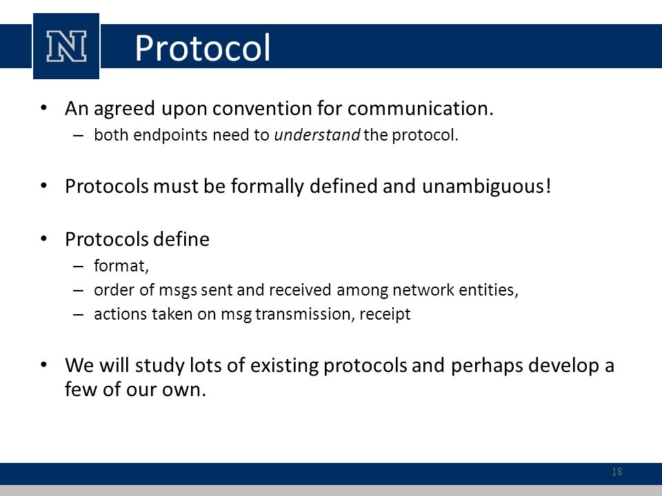 Protocol An agreed upon convention for communication.