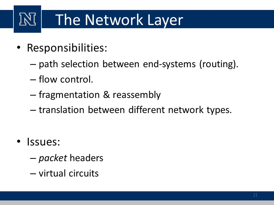The Network Layer Responsibilities: – path selection between end-systems (routing).
