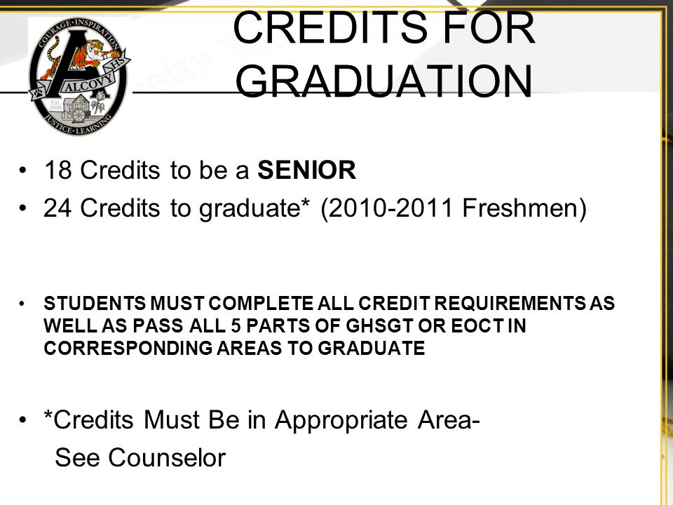 CREDITS FOR GRADUATION 18 Credits to be a SENIOR 24 Credits to graduate* ( Freshmen) STUDENTS MUST COMPLETE ALL CREDIT REQUIREMENTS AS WELL AS PASS ALL 5 PARTS OF GHSGT OR EOCT IN CORRESPONDING AREAS TO GRADUATE *Credits Must Be in Appropriate Area- See Counselor