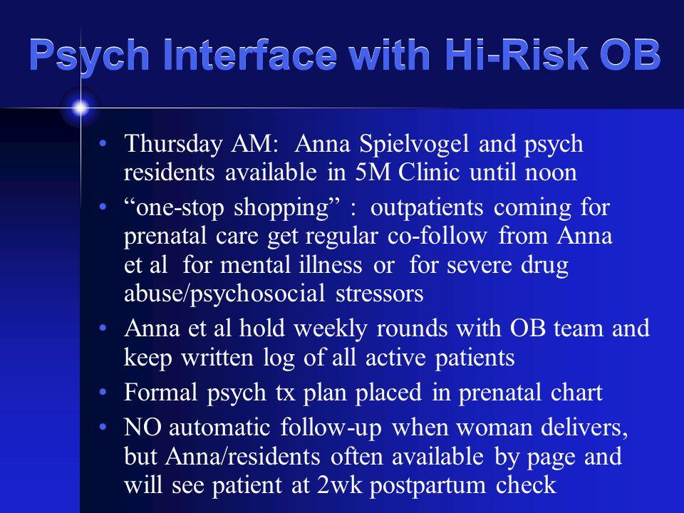 Psychiatric Consultation to the SFGH Ob/Gyn Service Sudha