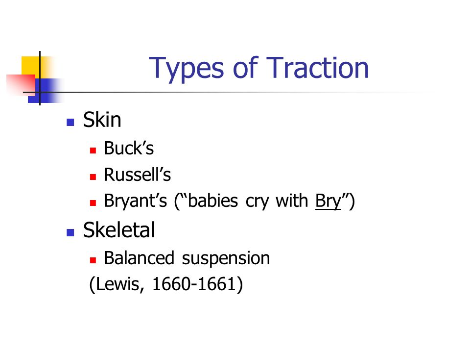 Types of Traction Skin Buck's Russell's Bryant's ( babies cry with Bry )‏ Skeletal Balanced suspension (Lewis, )‏