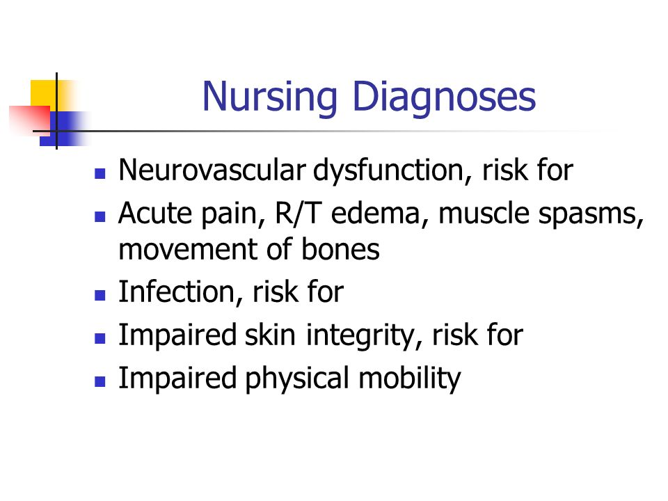 Nursing Diagnoses Neurovascular dysfunction, risk for Acute pain, R/T edema, muscle spasms, movement of bones Infection, risk for Impaired skin integrity, risk for Impaired physical mobility