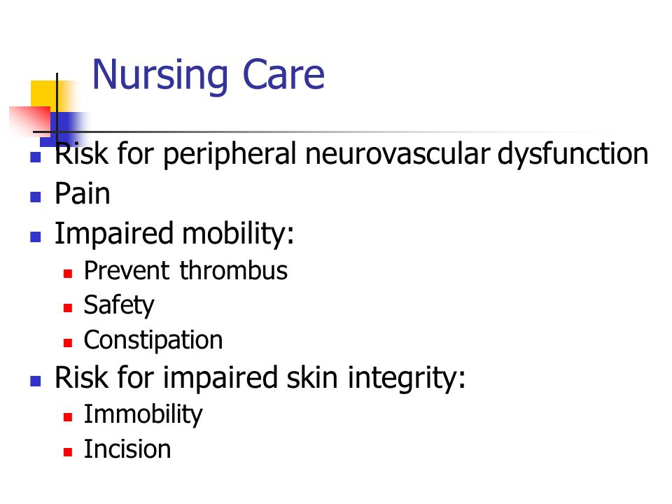 Nursing Care Risk for peripheral neurovascular dysfunction Pain Impaired mobility: Prevent thrombus Safety Constipation Risk for impaired skin integrity: Immobility Incision