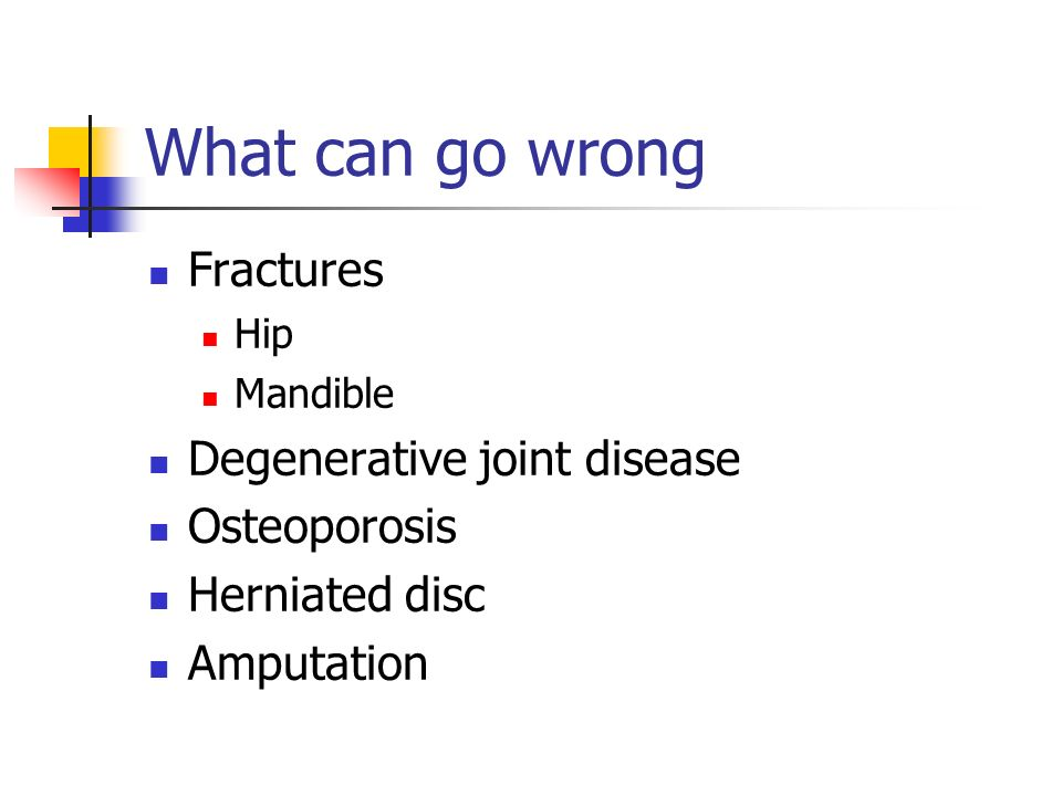What can go wrong Fractures Hip Mandible Degenerative joint disease Osteoporosis Herniated disc Amputation