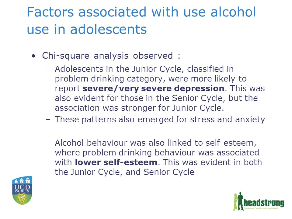 Factors associated with use alcohol use in adolescents Chi-square analysis observed : –Adolescents in the Junior Cycle, classified in problem drinking category, were more likely to report severe/very severe depression.