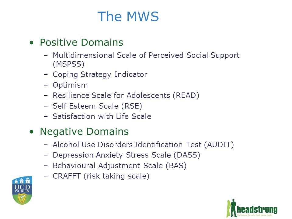 The MWS Positive Domains –Multidimensional Scale of Perceived Social Support (MSPSS) –Coping Strategy Indicator –Optimism –Resilience Scale for Adolescents (READ) –Self Esteem Scale (RSE) –Satisfaction with Life Scale Negative Domains –Alcohol Use Disorders Identification Test (AUDIT) –Depression Anxiety Stress Scale (DASS) –Behavioural Adjustment Scale (BAS) –CRAFFT (risk taking scale)