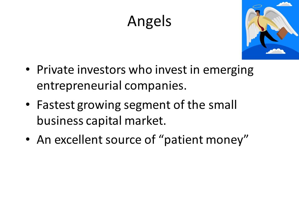 Angels Private investors who invest in emerging entrepreneurial companies.