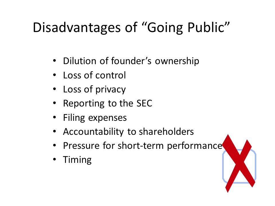 Disadvantages of Going Public Dilution of founder's ownership Loss of control Loss of privacy Reporting to the SEC Filing expenses Accountability to shareholders Pressure for short-term performance Timing
