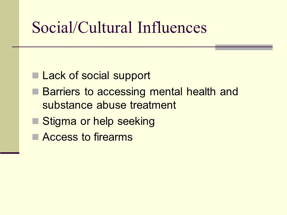 Lack of social support Barriers to accessing mental health and substance abuse treatment Stigma or help seeking Access to firearms