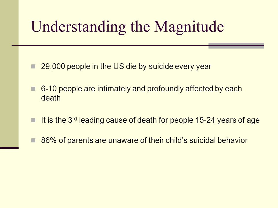 Understanding the Magnitude 29,000 people in the US die by suicide every year 6-10 people are intimately and profoundly affected by each death It is the 3 rd leading cause of death for people years of age 86% of parents are unaware of their child's suicidal behavior