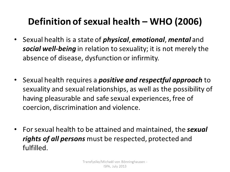 Sexual health definitions