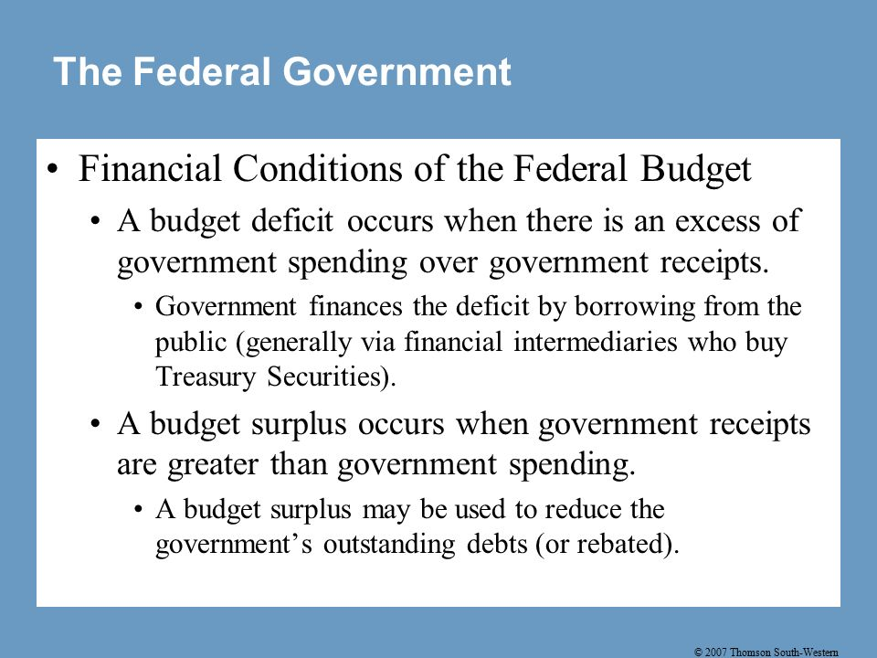 © 2007 Thomson South-Western The Federal Government Financial Conditions of the Federal Budget A budget deficit occurs when there is an excess of government spending over government receipts.