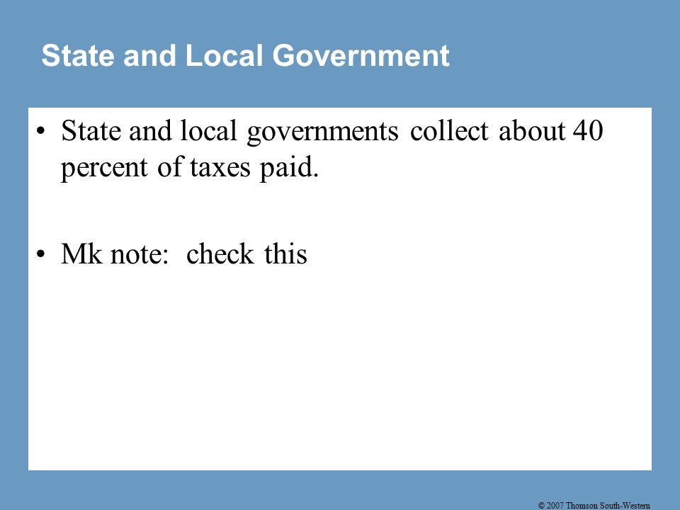 © 2007 Thomson South-Western State and Local Government State and local governments collect about 40 percent of taxes paid.