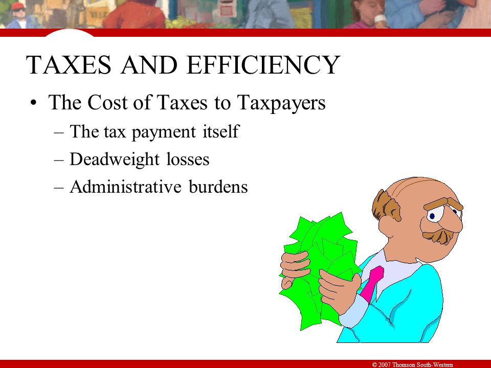 © 2007 Thomson South-Western TAXES AND EFFICIENCY The Cost of Taxes to Taxpayers –The tax payment itself –Deadweight losses –Administrative burdens