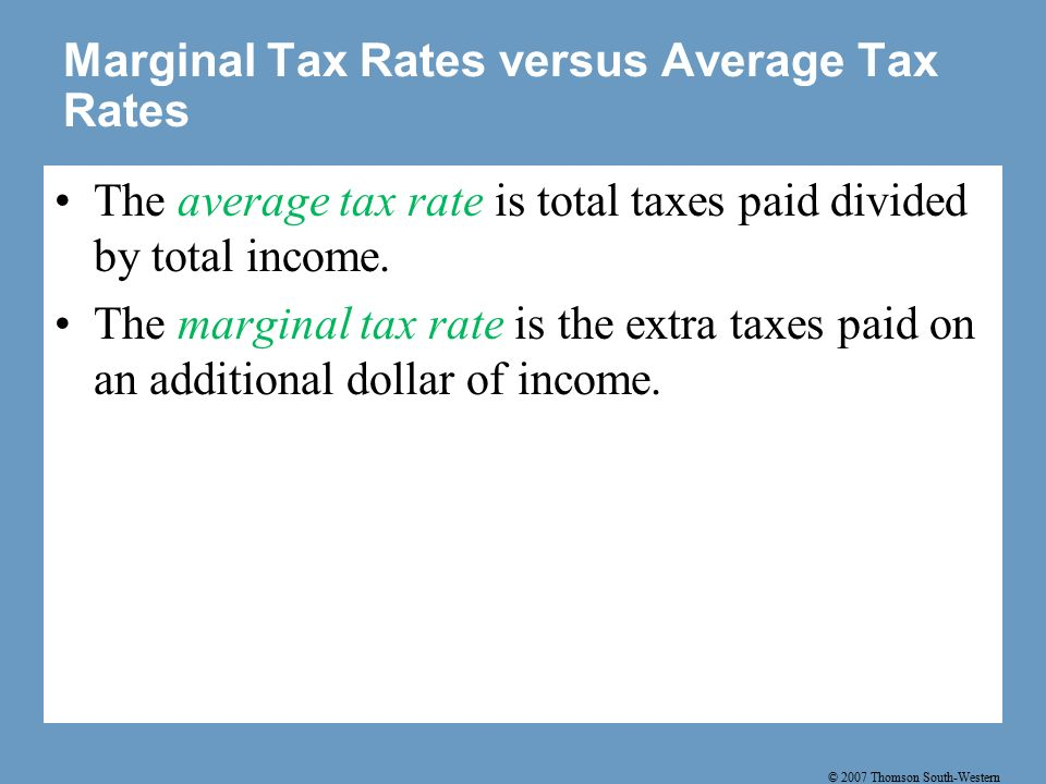 © 2007 Thomson South-Western Marginal Tax Rates versus Average Tax Rates The average tax rate is total taxes paid divided by total income.