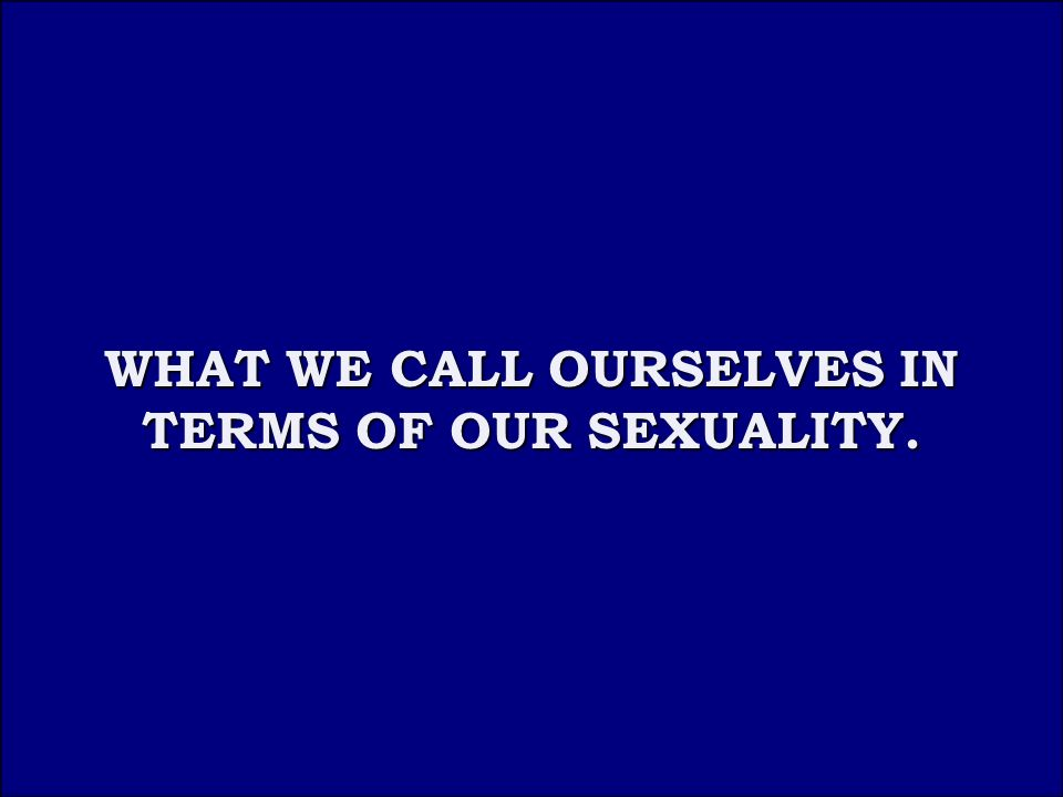 Answer 3B WHAT WE CALL OURSELVES IN TERMS OF OUR SEXUALITY.