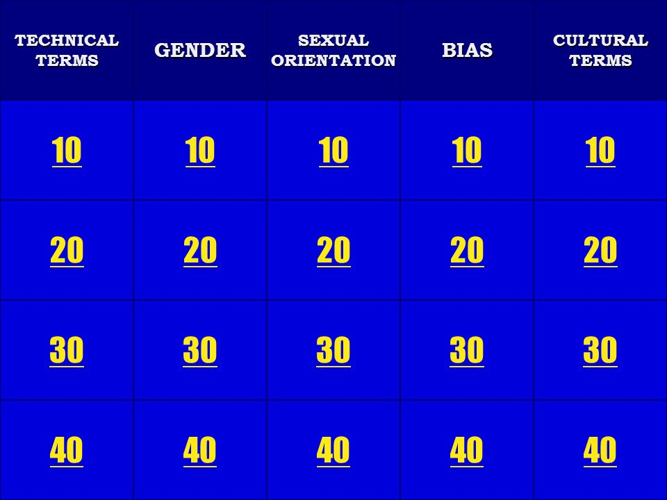 Regular Jeopardy GENDERBIASCULTURALTERMS SEXUALORIENTATIONTECHNICALTERMS