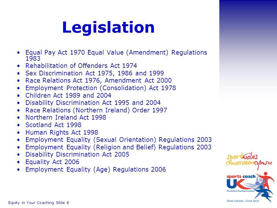 Sex discrimination act 1975 amendment regulations