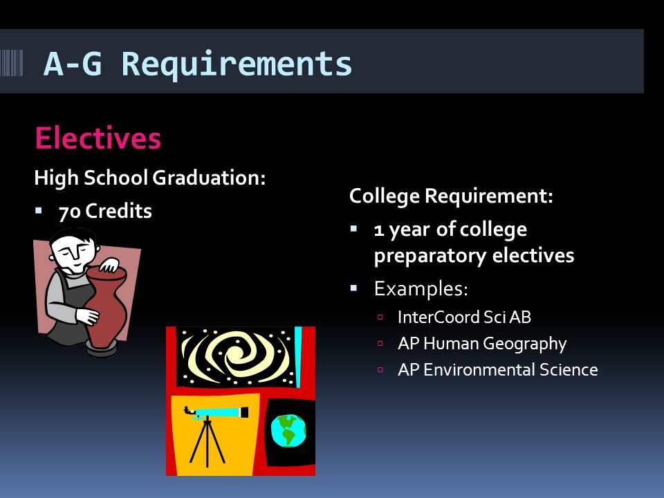 A-G Requirements Electives High School Graduation:  70 Credits College Requirement:  1 year of college preparatory electives  Examples:  InterCoord Sci AB  AP Human Geography  AP Environmental Science