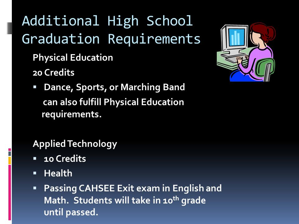 Additional High School Graduation Requirements Physical Education 20 Credits  Dance, Sports, or Marching Band can also fulfill Physical Education requirements.