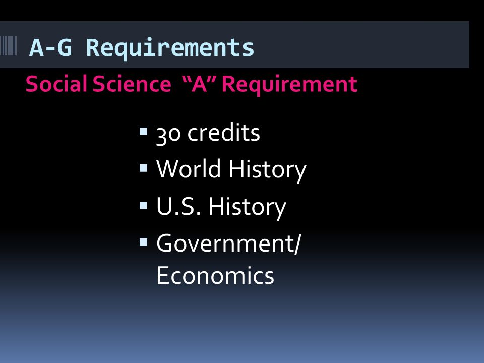 A-G Requirements Social Science A Requirement  30 credits  World History  U.S.